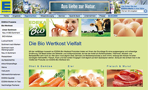Edeka-Website mit Bio-Informationen