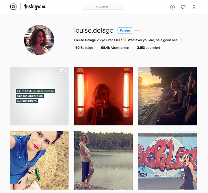Der Instagram-Fake-Account der Louise Delage.