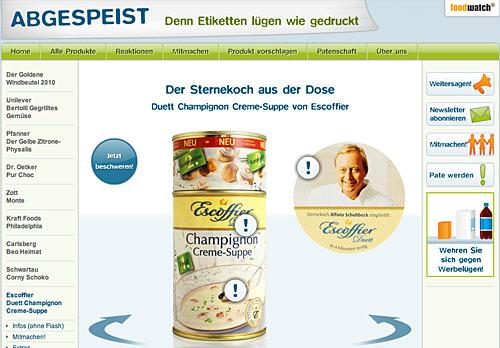 Foodwatch und abgepeist.de