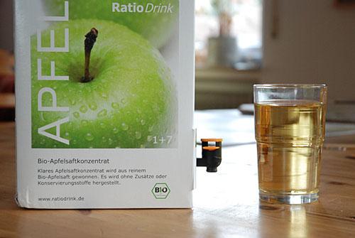 Austesten oder Messen: Wieviel ist ein Achtel des Glases? (Konzentratanteil bei Bio-Apfelsaft klar)