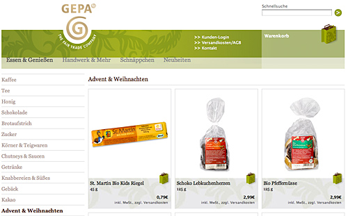 Gepa Weihnachtsartikel im Onlineshop