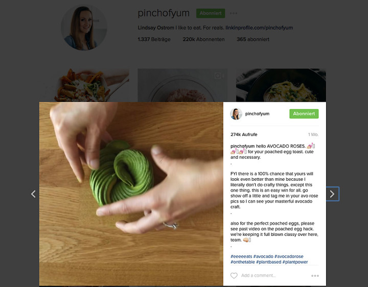 Ordentliche Likes: Für das Schneiden einer Avocado-Rose interessieren sich bei dieser Kurz-Anleitung mehr  als nur die eigenen Follower des Foodblogs.