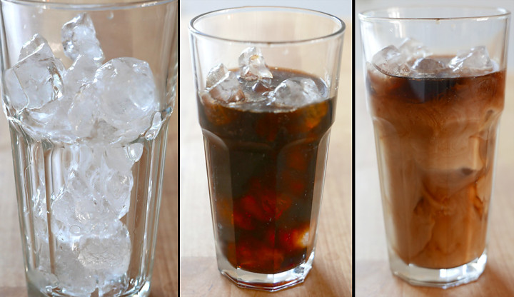 Cold Brew: Gut gekühlt, gerne auf Eis, dann verdünnt mit Wasser und / oder Milch.