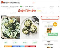Website 'Essen ohne Kohlehydrate'
