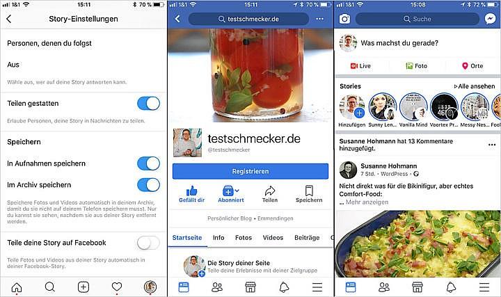 Stories bei Instagram für Facebook freischalten und automatisch mitnutzen. Oder mit drei einfache Schritten zur zusätzlichen Facebook-Story gelangen.