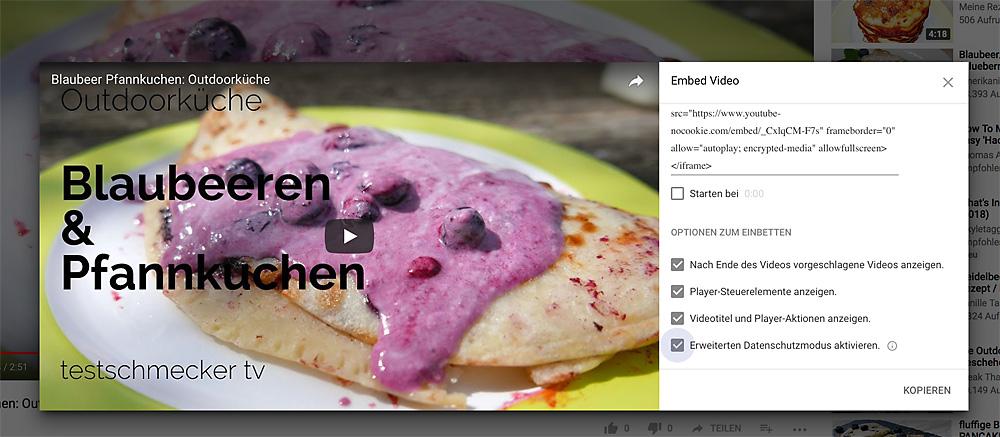 Food-Videos einbetten - möglichst datenschutzkonform