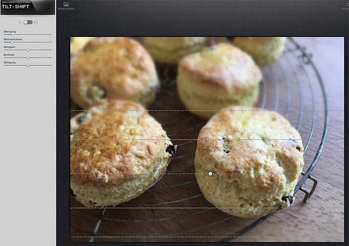 Unschärfe bei Food-Fotos: In Snapseed mit der Funktion Tilt Shift - auch bei Handyfotos.