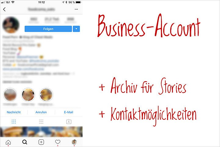 Instagram Business-Account: Vorteil Kontakte und Statistik