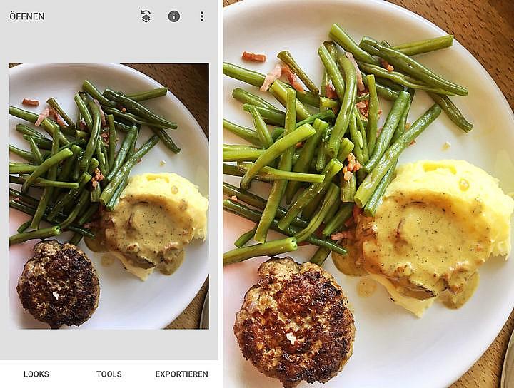 Bildbearbeitung von Food-Fotos funktioniert auch gut auf dem Smartphone hier mit Snapseed.