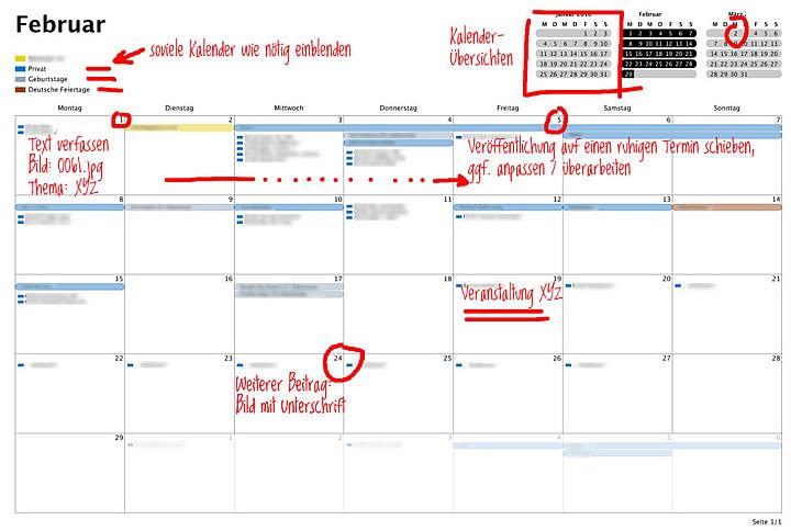 Beiträge und Projekte planen: Ein Redaktionskalender für Social Media hilft.