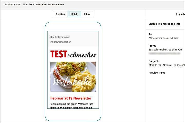 Food-Blog Newsletter: Gut aussehen sollte er vor allem auch auf Smartphones.