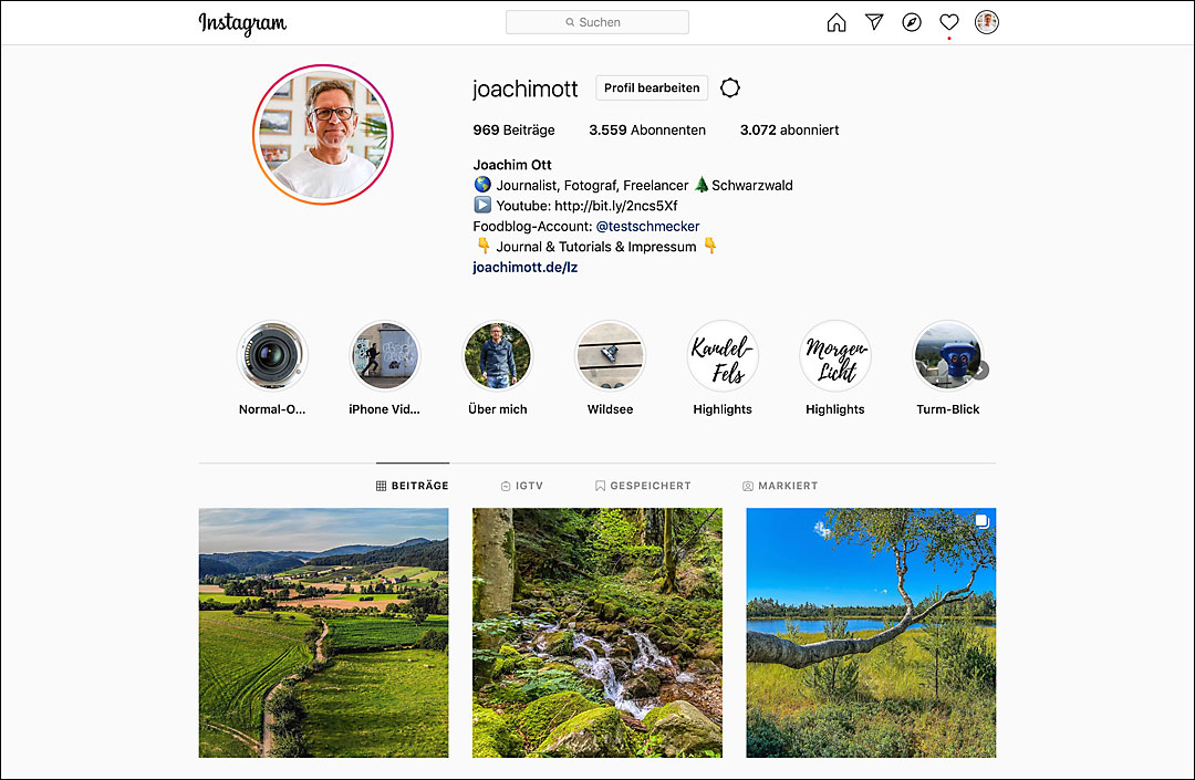 Mein Instagram Account @joachimott.