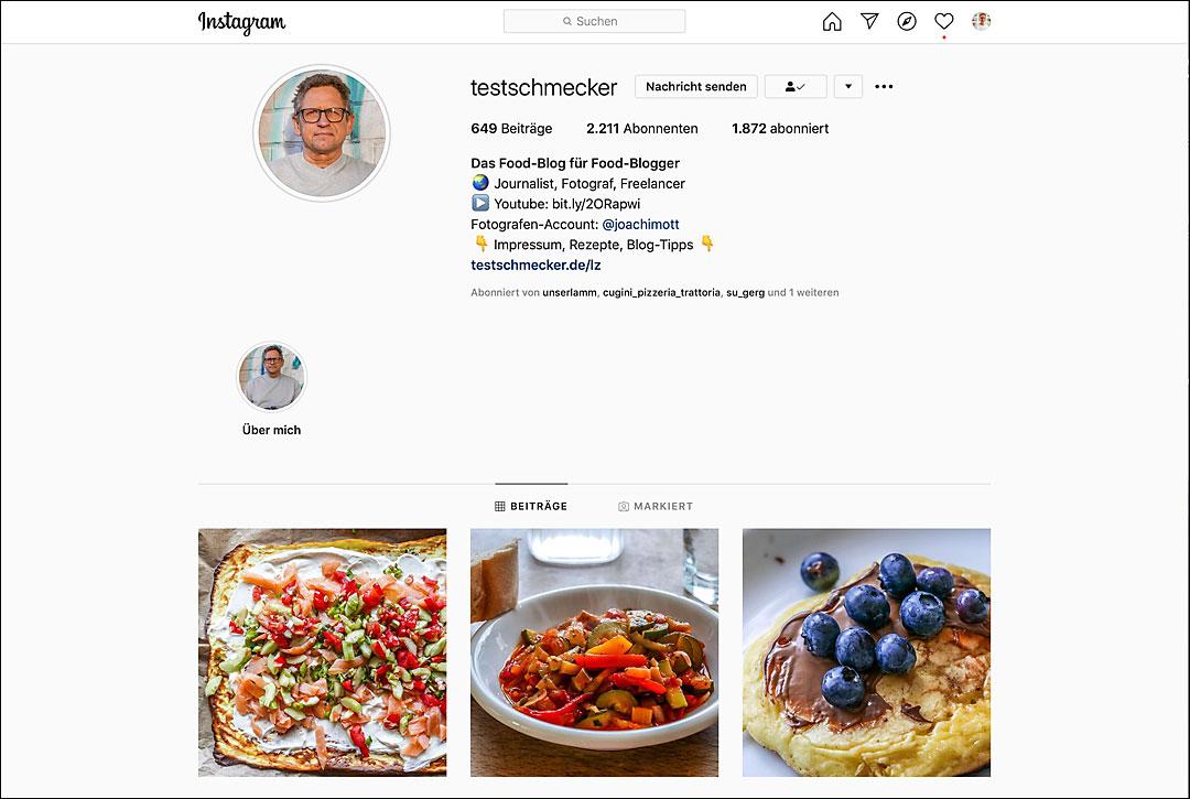 Mein Instagram Account @testschmecker.